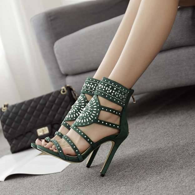 Women's Leatherette Heels Peep Toe Fashion Shoes