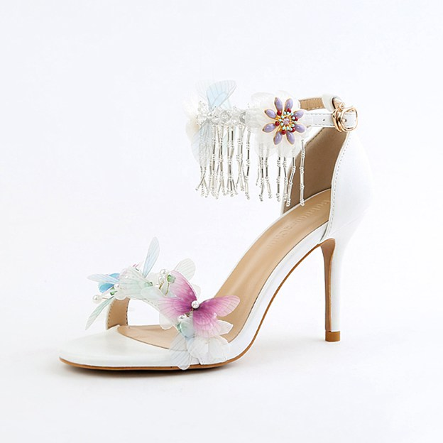 Women's PU With Tassel/Flowers/Ankle Strap Sandals Peep Toe Heels Wedding Shoes