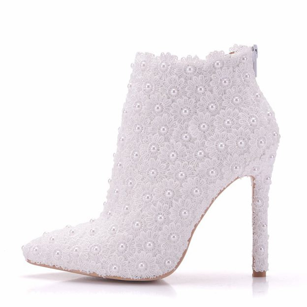 Women's PU With Lace/Imitation Pearl Heels Boots Wedding Shoes