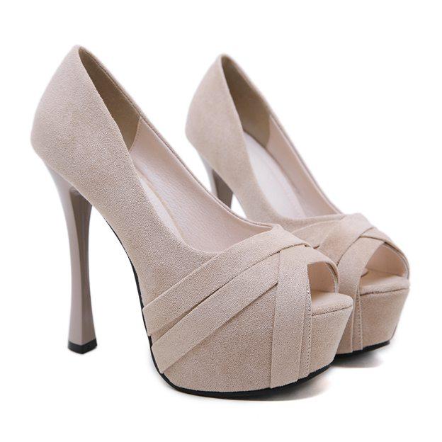 Women's Suede Peep Toe Platform Heels Fashion Shoes