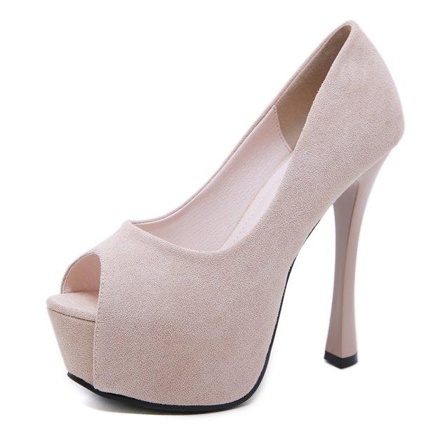 Women's Suede Heels Peep Toe Platform Fashion Shoes