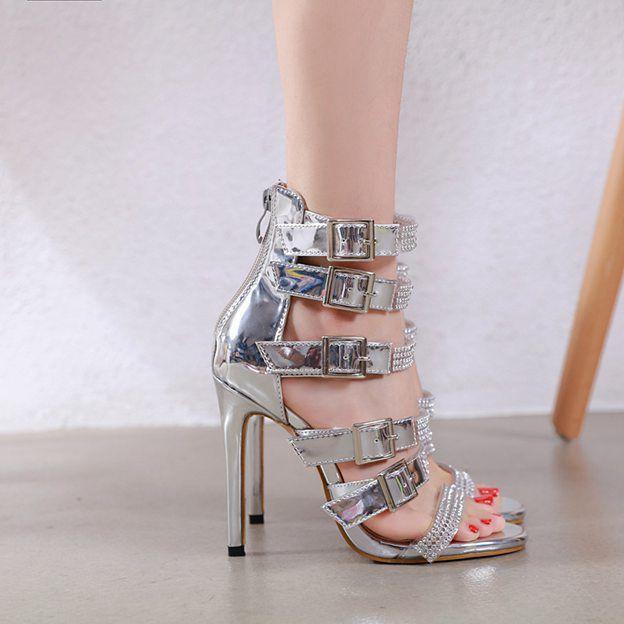 Women's Leatherette With Rhinestone/Buckle Peep Toe Heels Fashion Shoes