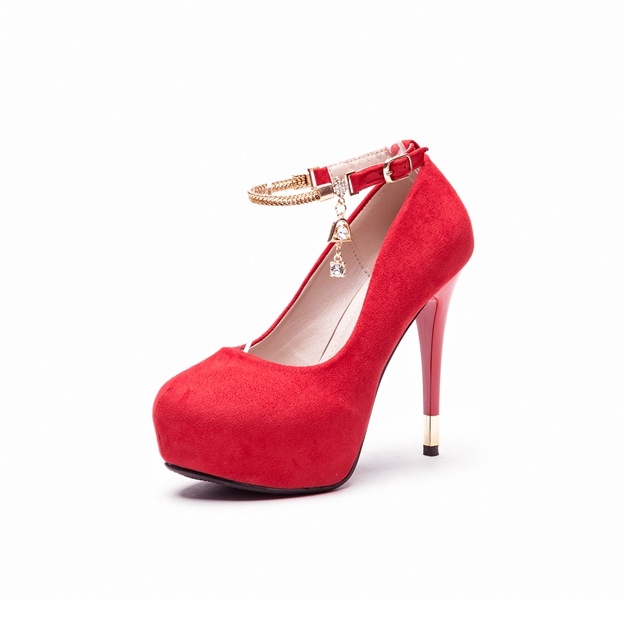 Women's Suede With Chain Platform Heels Close Toe Fashion Shoes