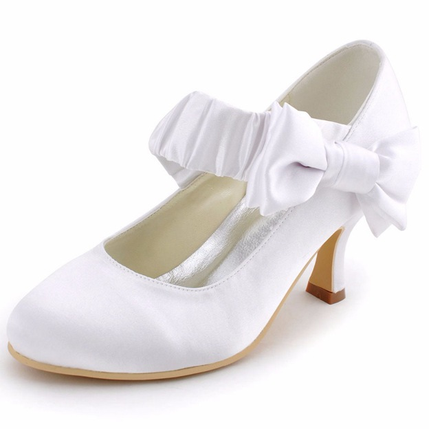 Women's Satin With Bowknot Close Toe Heels Shoes