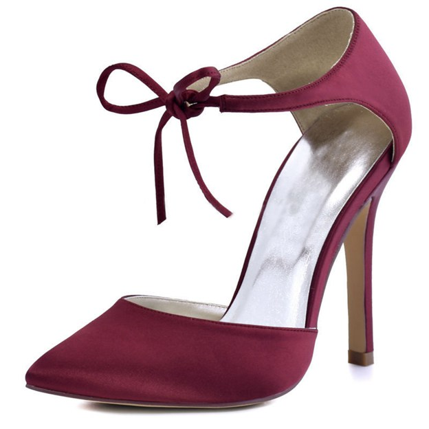 Women's Satin With Ankle Strap Close Toe Heels Fashion Shoes