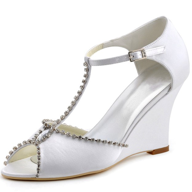 Women's Satin With T-Strap Rhinestone Ankle Strap Peep Toe Wedges Shoes