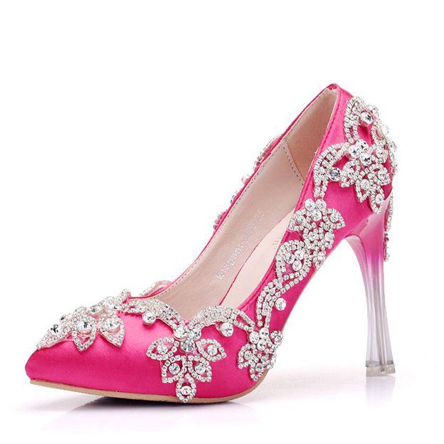 Women's PU With Rhinestone Close Toe Heels Shoes