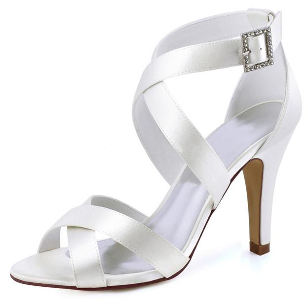 Women's Satin With Buckle Heels Peep Toe Fashion Shoes
