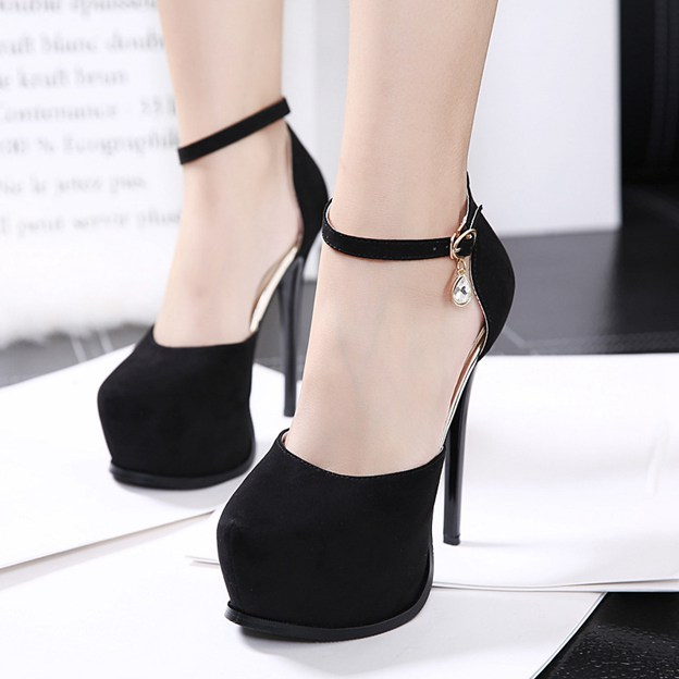 Women's Suede With Ankle Strap Platform Pumps Heels Fashion Shoes