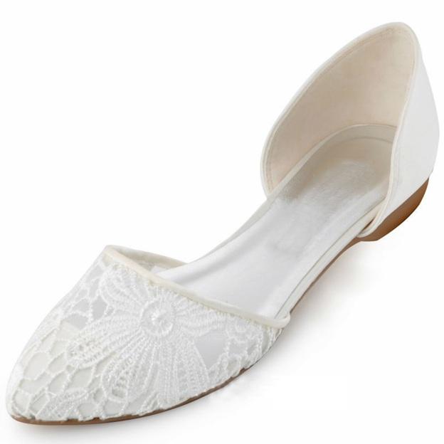Women's Lace Satin Flats Close Toe Wedding Shoes