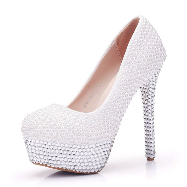 Women's PU With Rhinestone/Imitation Pearl Close Toe Heels Fashion Shoes