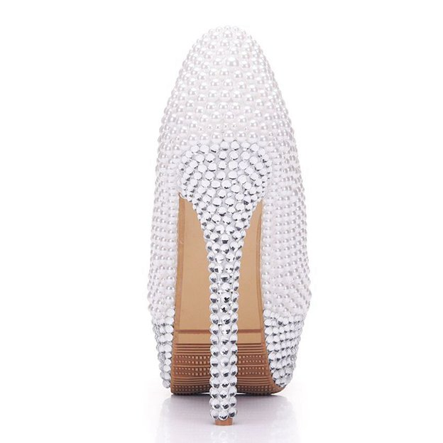 Women's PU With Rhinestone/Imitation Pearl Close Toe Heels Fashion Shoes