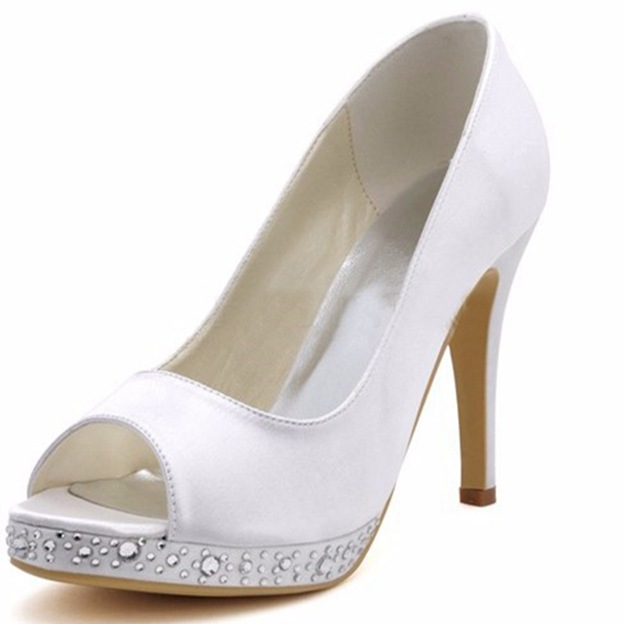 Women's Satin With Rhinestone Heels Peep Toe Fashion Shoes