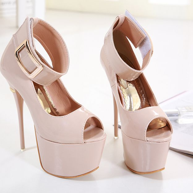 Women's Leatherette With Ankle Strap Peep Toe Platform Heels Fashion Shoes