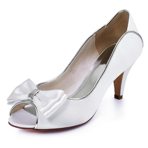 Women's Satin With Bowknot Heels Peep Toe Fashion Shoes