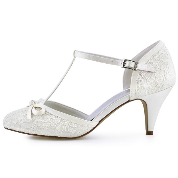 Women's Lace Satin With T-Strap/Buckle/Bowknot Close Toe Heels Wedding Shoes