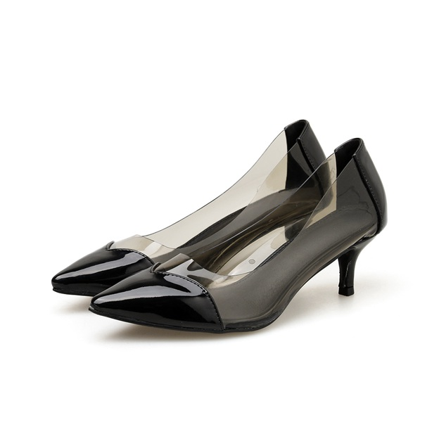 Women's Leatherette Close Toe Pumps Heels Fashion Shoes