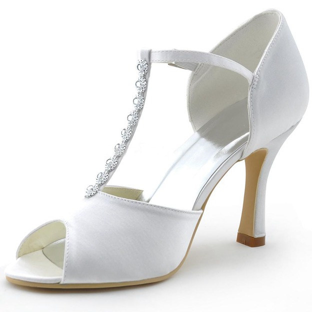 Women's Satin With T-Strap Ankle Strap Heels Peep Toe Wedding Shoes