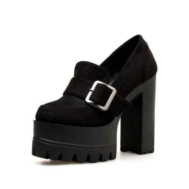 Women's Leatherette Platform Heels Close Toe Fashion Shoes