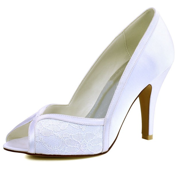 Women's Satin Heels Peep Toe Wedding Shoes