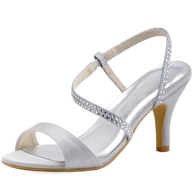 Women's Satin With Rhinestone Sandals Peep Toe Heels Fashion Shoes