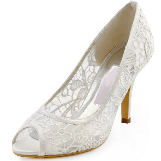 Women's Lace Satin With Lace Heels Peep Toe Wedding Shoes