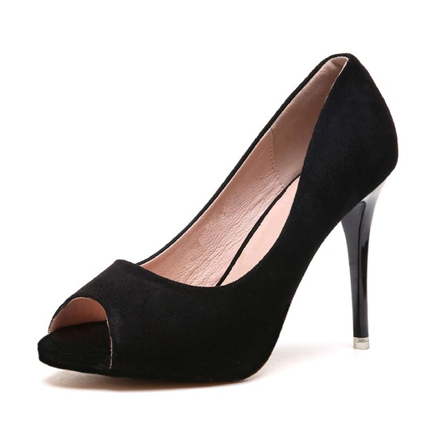 Women's Suede Peep Toe Pumps Heels Fashion Shoes