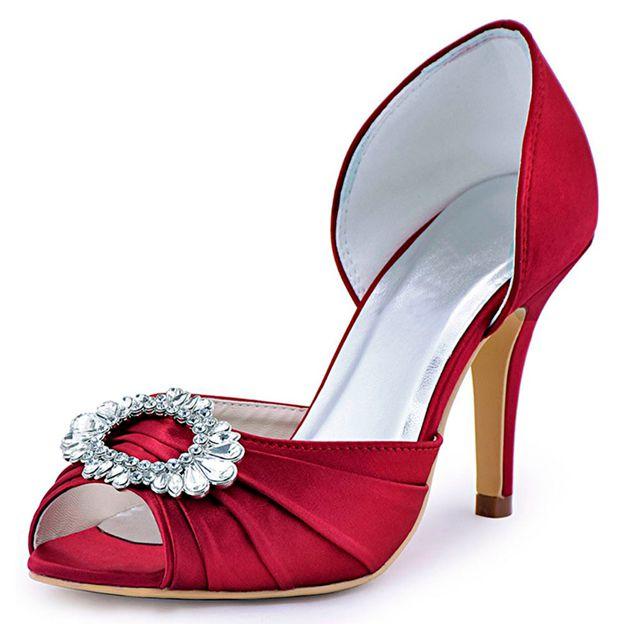 Women's Satin With Rhinestone Heels Peep Toe Shoes