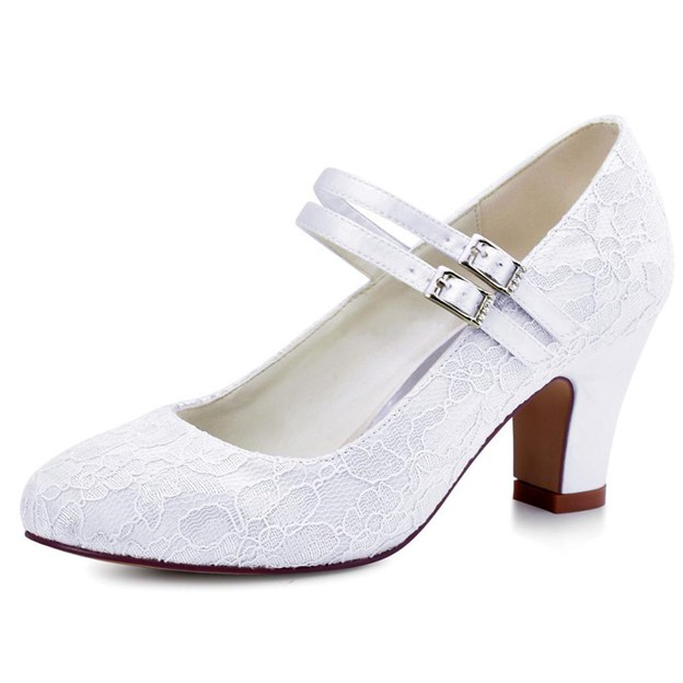 Women's Lace Satin With Buckle Close Toe Heels Shoes