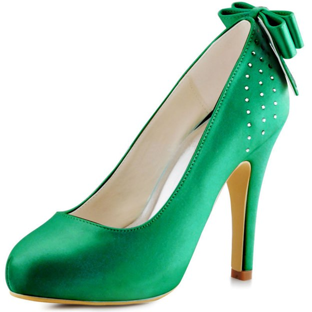 Women's Satin With Bowknot Close Toe Heels Fashion Shoes