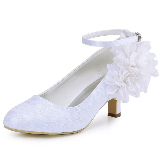 Women's Satin Lace With Flowers Ankle Strap Close Toe Heels Wedding Shoes