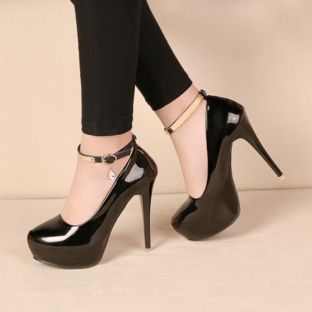 Women's Leatherette With Ankle Strap Heels Platform Fashion Shoes