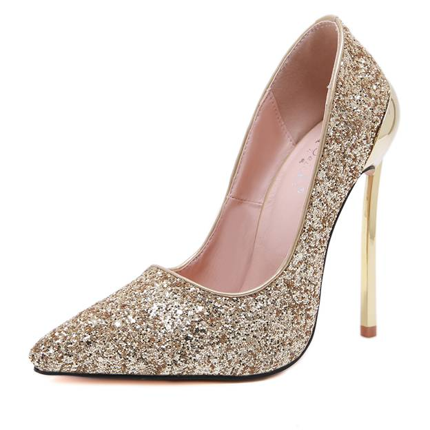 Women's Leatherette With Sparkling Glitter Pumps Heels Close Toe Fashion Shoes