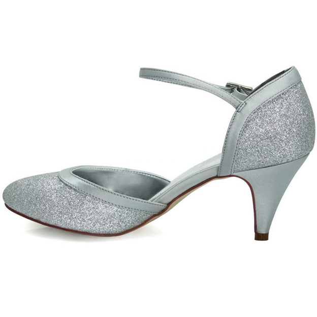 Women's Sparkling Glitter With Ankle Strap Close Toe Pumps Dance Shoes