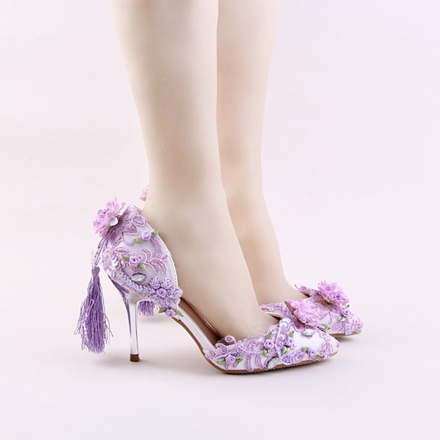 Women's Leather With Flowers Close Toe Heels Wedding Shoes