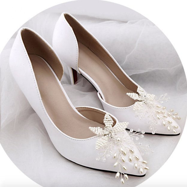 Women's Satin With Imitation Pearl Close Toe Heels Wedding Shoes