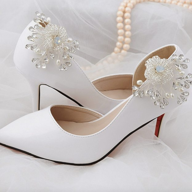 Women's Satin With Flowers/Crystal Close Toe Heels Wedding Shoes