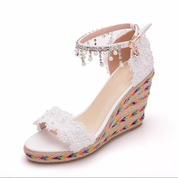 Women's Lace With Rhinestone/Appliqued/Ankle Strap Peep Toe Wedges Wedding Shoes