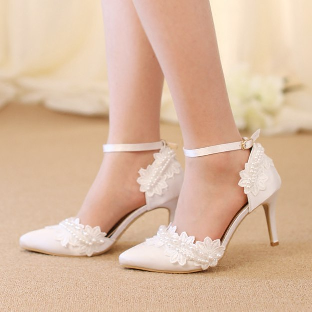 Women's PU With Appliqued/Ankle Strap Close Toe Heels Wedding Shoes