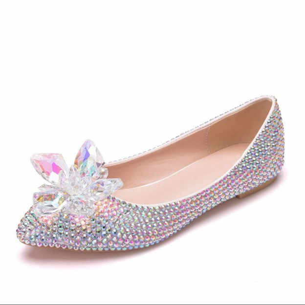 Women's PU With Rhinestone/Flowers Flats Close Toe Shoes