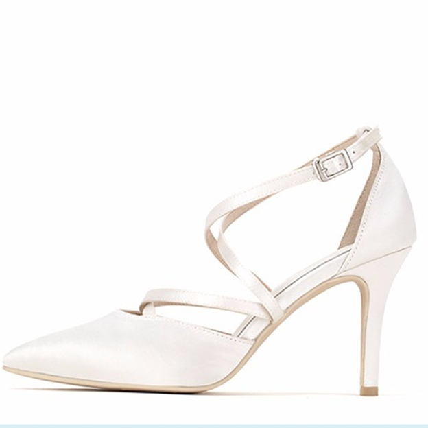 Women's Satin With Ankle Strap Close Toe Heels Wedding Shoes