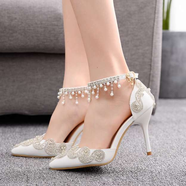 Women's PU With Rhinestone Close Toe Heels Wedding Shoes