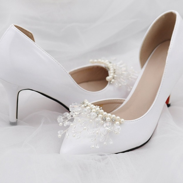 Women's Satin With Imitation Pearl/Crystal Close Toe Heels Wedding Shoes