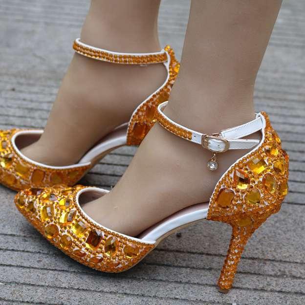 Women's PU With Rhinestone Close Toe Heels Dance Shoes