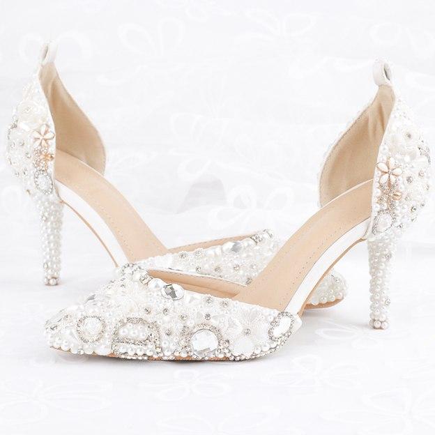 Women's PU Imitation Pear/Ankle Strap Close Toe Heels Wedding Shoes