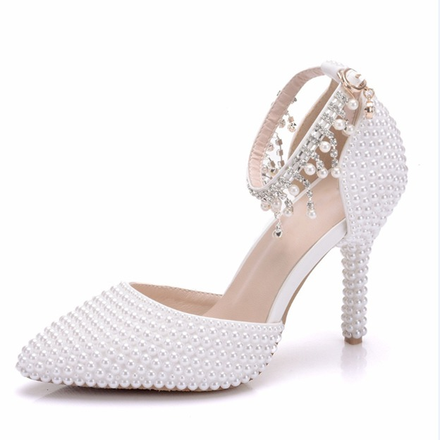 Women's PU With Tassel/Imitation Pearl Close Toe Heels Wedding Shoes