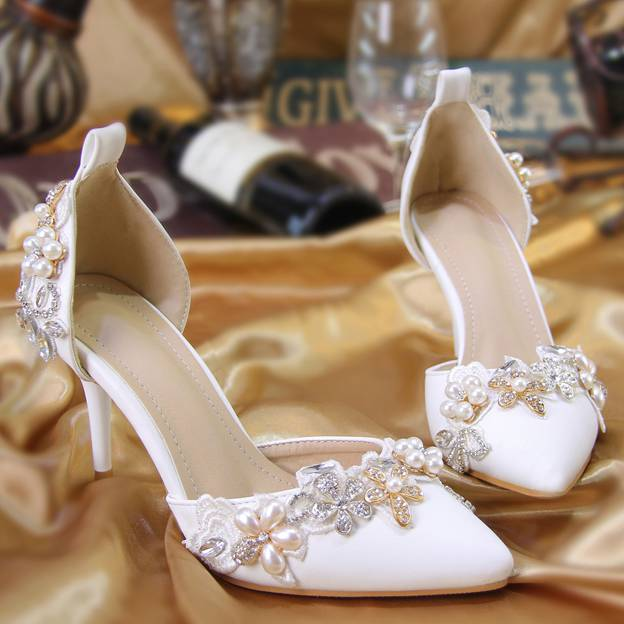 Women's PU With Rhinestone/Imitation Pearl/Crystal Close Toe Heels Wedding Shoes
