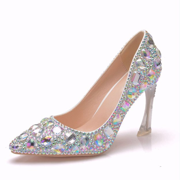 Women's PU With Rhinestone Close Toe Heels Shoes