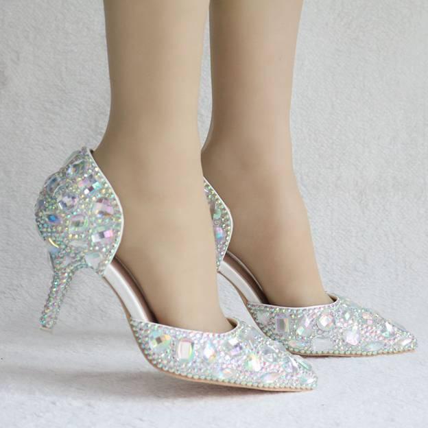 Women's PU With Rhinestone Close Toe Heels Fashion Shoes