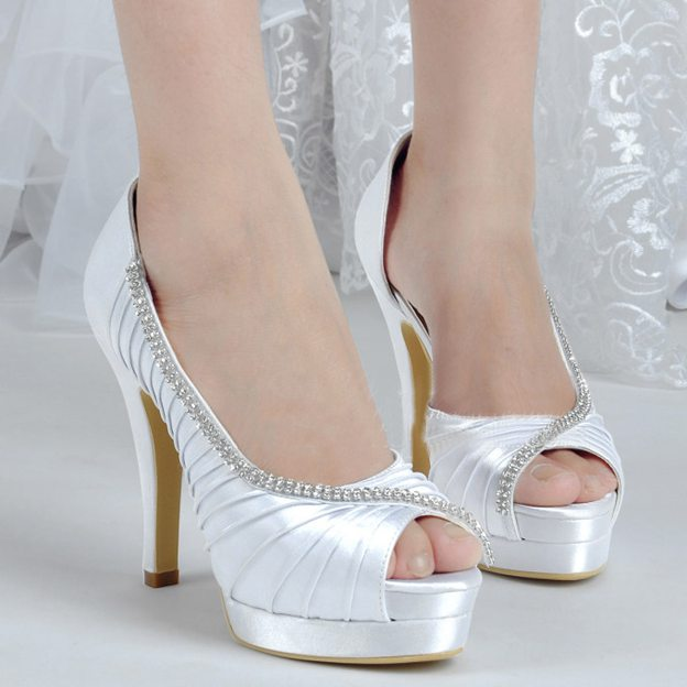 Women's Satin With Pleated Heels Peep Toe Wedding Special Occasion Shoes
